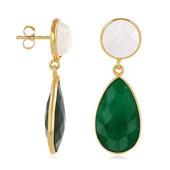 ADEN Emerald en Moonstone Oorbellen, instelling fijne vergulde op 925 sterling zilver (id 4543)