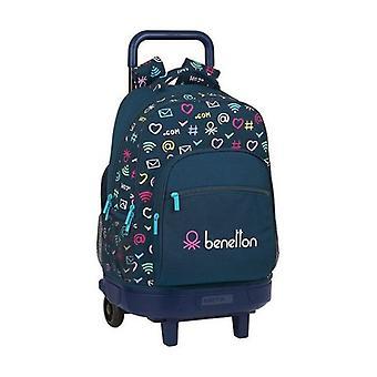 School Rucksack with Wheels Compact Benetton Dot Com Navy Blue