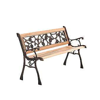 Garden Bench Cast Iron Wood 3 Seater Bench Chair
