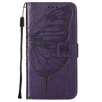 Étui pour Xiaomi Redmi Note 10 4g Flip Case Cover Premium Cuir Embossage Magnétique - Violet Profond