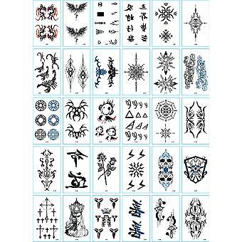 30pcs / set Tatuajes Temporales Dragon Skull Totem Wort Henna Fake Tatoo Wasserdicht Sexy Temporäre Tattoos für Männer Hände Arm Körper