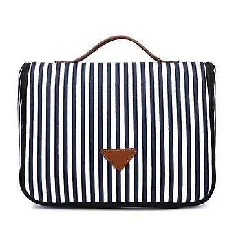 Naiset raidallinen kosmetiikka laukku muoti kangas varastointi laukku kannettava suurikapasiteettinen wc laukku