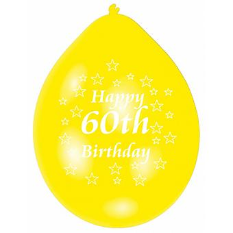 Amscan Happy 60th Birthday Multicoloured Party Balloons (Pack Of 10)