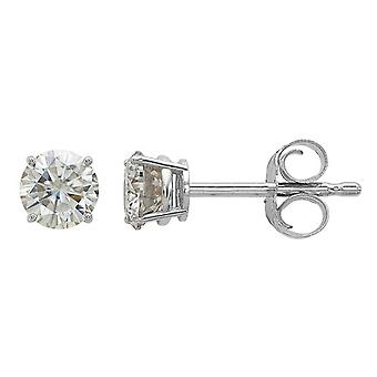.44 Carat (ctw 1/2 Ct. Diamond Look) 4.00mm Synthetic Moissanite Solitaire Earrings in 14K White Gold