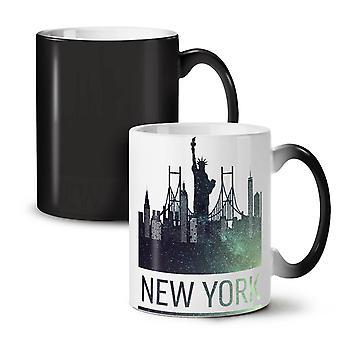 Sparkling New York NEW Black Colour Changing Tea Coffee Ceramic Mug 11 oz | Wellcoda
