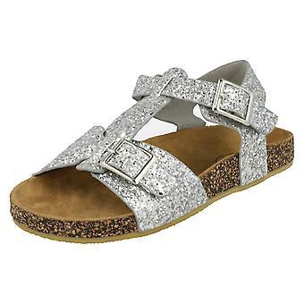 Girls Spot On Flat Glittery Sandals - Silver Synthetic - UK Size 10 - EU Size 28 - US Size 11