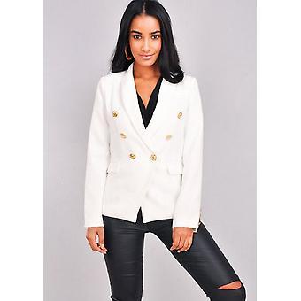 Sotilaallinen tyyliin suunniteltu painiketta Blazer takki valkoinen
