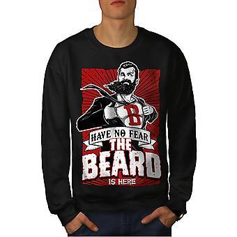 ひげはここに男性 BlackSweatshirt |Wellcoda