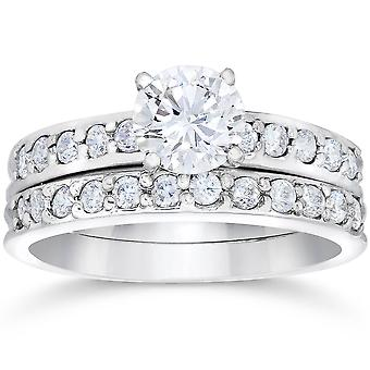 1 Carat Diamond Engagement Ring Matching Wedding Band Prong Set 14K White Gold