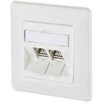 Network outlet Flush mount Insert with main panel and frame CAT 6A 2 ports Metz Connect 130B12D21002-E Pure white