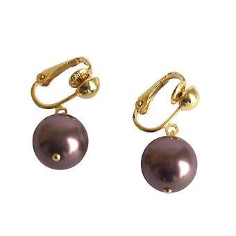 Gemshine - Panie - clip - kolczyki perły - Tahitian - brązowy - złoto platerowany 12 mm
