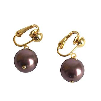 Gemshine - Damen - Ohrclips - Perlen - Tahiti - Braun - Vergoldet - 12 mm