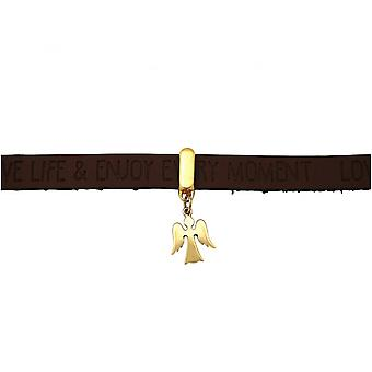 Brown dark - magnetic lock - WISHES - gold-plated ladies-bracelet - protection Angel