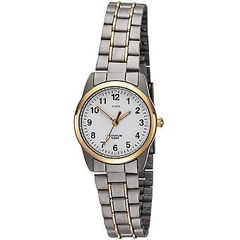 JOBO ladies wrist watch quartz analog titanium bicolor gold plated ladies watch