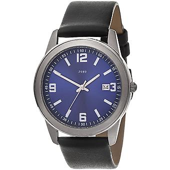 JOBO men's wristwatch quartz analog blue titanium black mens watch leather band date