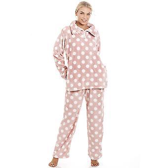 Camille Pink super Velour Fleece Polka Dot Pyjama satt