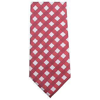 Knightsbridge Neckwear fet sjekket slips - rød/hvit