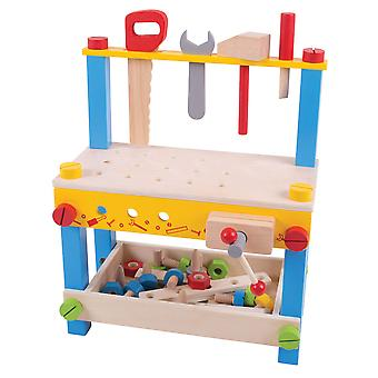 Bigjigs Toys My First Wooden Construction Workbench with Tools Pretend Play