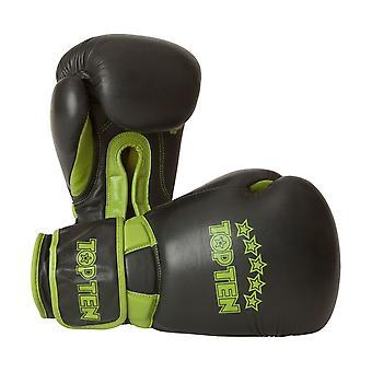 Top Ten Elite Dual Boxing Gloves Black/Green 16oz