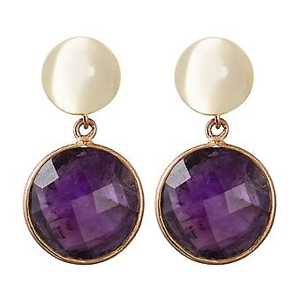 Boucles d'oreilles pour femmes Gemshine améthystes et pierres de lune. 925 Argent or précieux plaqué