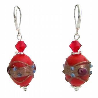 أقراط سواروفسكي Lampwork أحمر مجوهرات الحرفي يدوياً