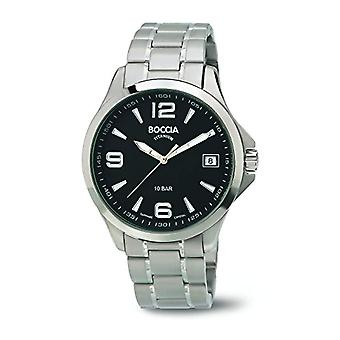 Petanque-quartz with analog Display and titanium bracelet 3591-02 B, color: Silver