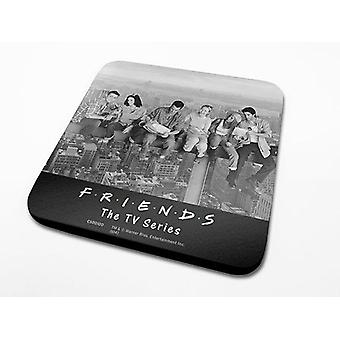 Friends coasters set skyscraper set of 6, black, printed, coated, made of Cork.