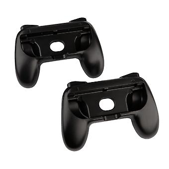 REYTID Replacement Grips Compatible with Nintendo Switch Console Joy-Cons Protective Hard Cover Case - 2 Pack (Black)