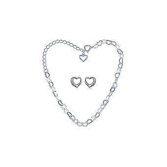 925 sterlingsilver 2st öppna hjärtat kedja armband och dubbar Ställ