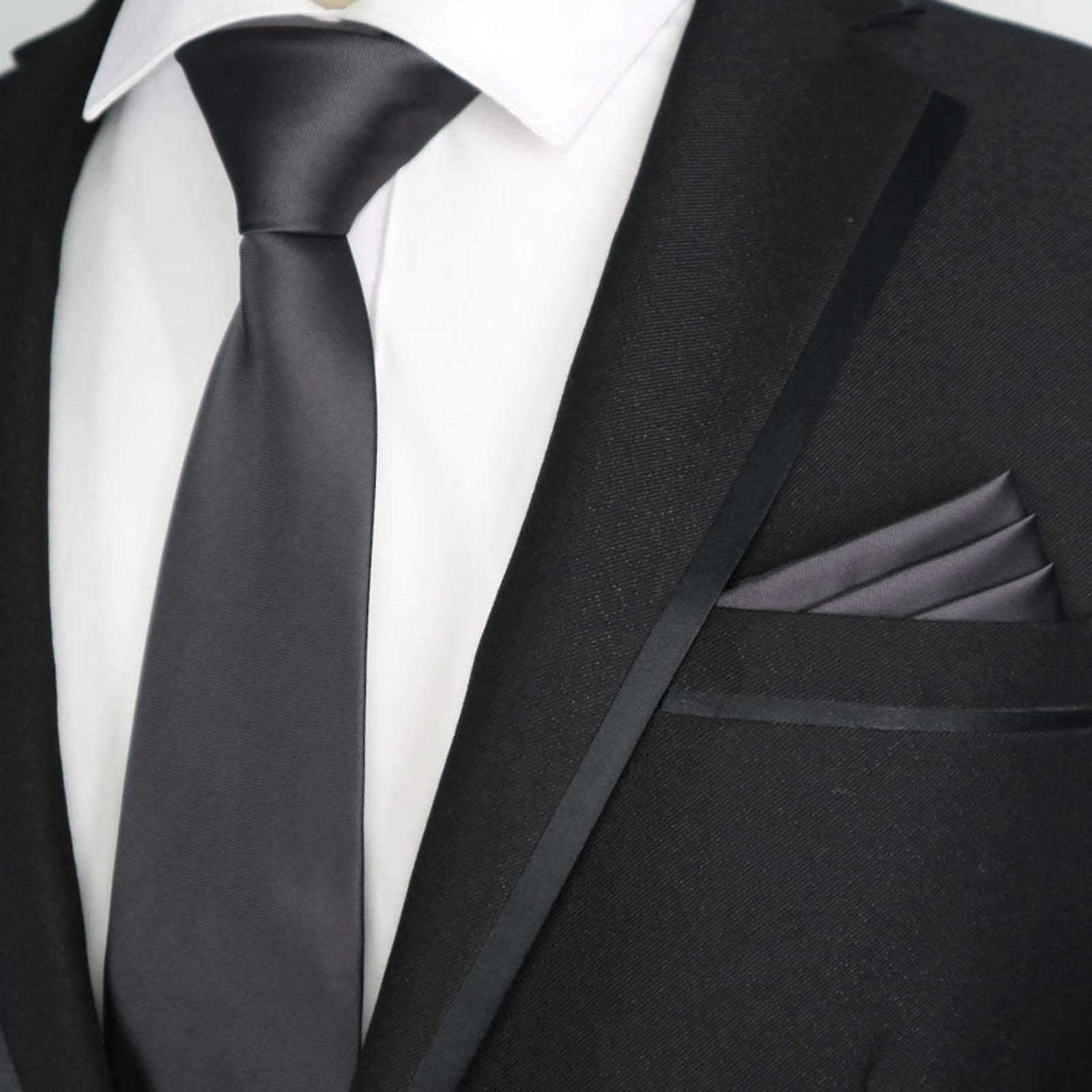 Slate grey solid satin finish slim tie & pocket square