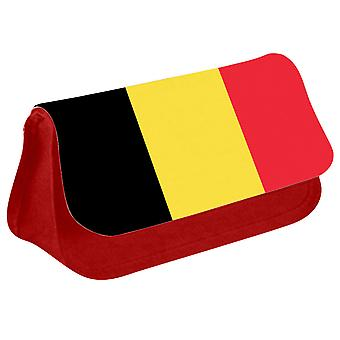 Belgium Flag Printed Design Pencil Case for Stationary/Cosmetic - 0017 (Red) by i-Tronixs