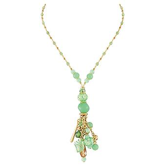 Eternal Collection Valentina Mint Green Murano Glass Charm Y Style Pendant Necklace