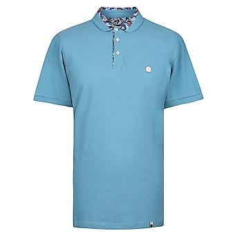 PRETTY GREEN Blue Paisley Print Collar Polo Chemise