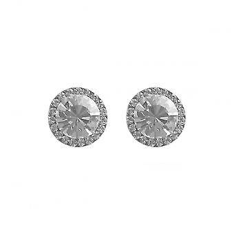 VIP Silver Plated Crystal Set Round Halo Stud Earrings
