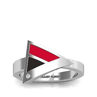 Calgary Flames Engraved Sterling Silver Diamond Geometric Ring In Red and Black