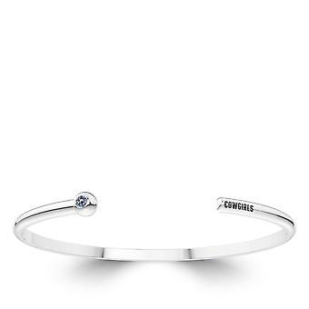 Oklahoma State University Engraved Sterling Silver White Sapphire Cuff Bracelet