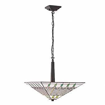 2 ljus stor inverterad tak hänge mörk brons, Tiffany glass