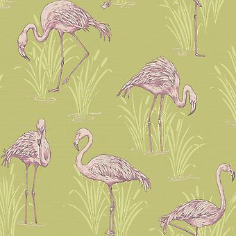 Arthouse vintage Lagoon tradicional Oriental Flamingo textured wallpaper 252602