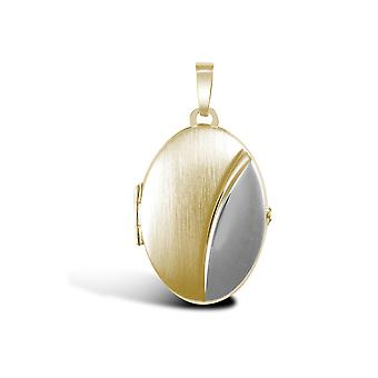Jewelco London Ladies 9ct Yellow and White Gold Brushed Matte Oval Bean Locket Pendant