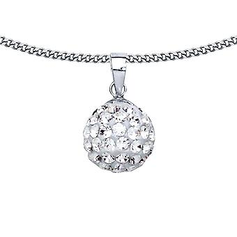 Jewelco Londen dames rhodium plated sterling zilver wit ronde Crystal disco bal hanger ketting 18 inch