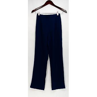 Bob Mackie Petite Pants PXXS with Straight Leg Navy Blue