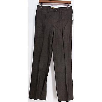 Motto Yarn-Dyed Twill Fly Front Boot Cut Dark Brown Pants A95258