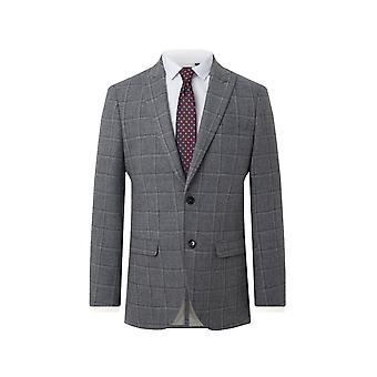 Dobell Mens Grey Tweed Suit Jacket Regular Fit Peak Lapel Windowpane Check