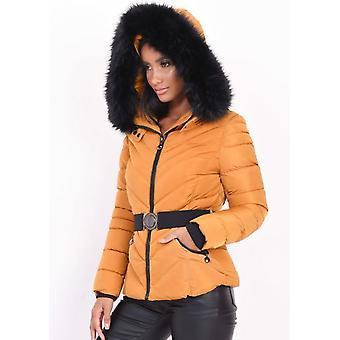 Acolchado faux piel con capucha acolchado acolchado puffer abrigo mostaza amarillo