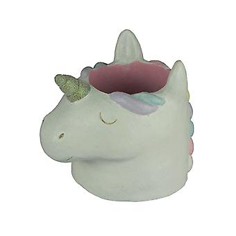 Pastel Rainbow Concrete Sleeping Unicorn Planter Statue