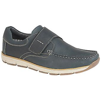 Chaussures de loisirs Roamers Mens Leather Touch Fastening Apron Moccasin