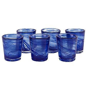 Blue alabaster shot glass 6pc badash crystal km751b