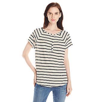 Lucky Brand Women's Even Stripe Top, Black, Medium