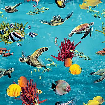 Rasch Ocean Sea Life Wallpaper Jelly Fish Turtle Sea Horse Blue Yellow Red Green