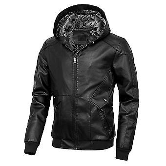 Allthemen Men's Solid Velet Caldo Autunno & Winter Hooded Cappotto in pelle